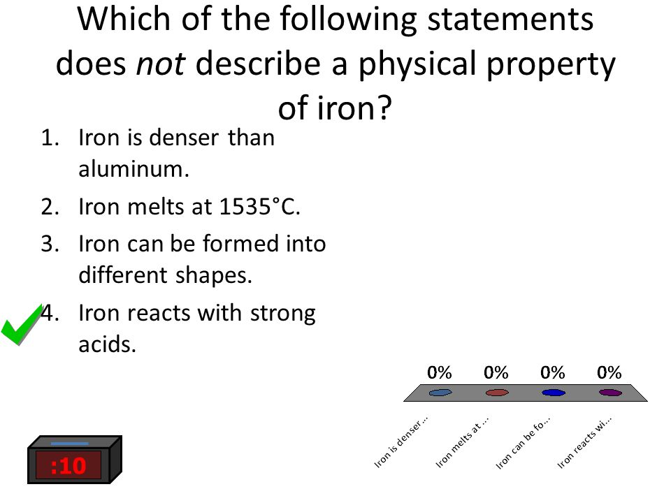 Which of the following statements does not describe a physical property of iron.