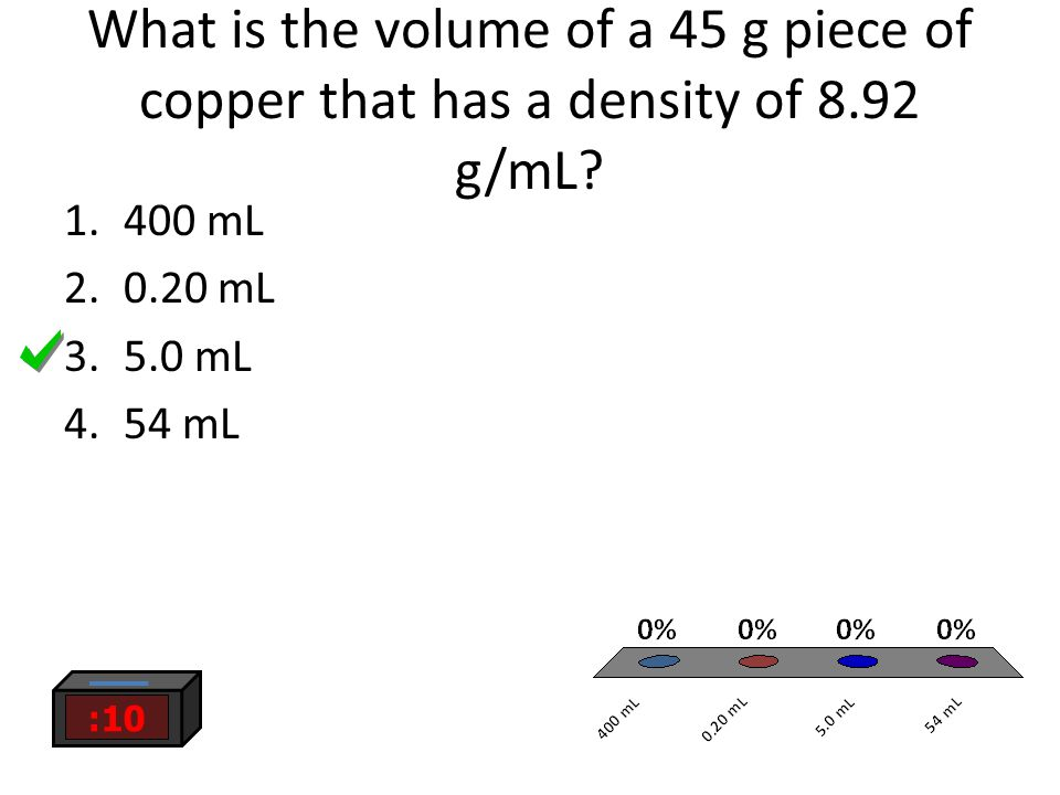 What is the volume of a 45 g piece of copper that has a density of 8.92 g/mL.