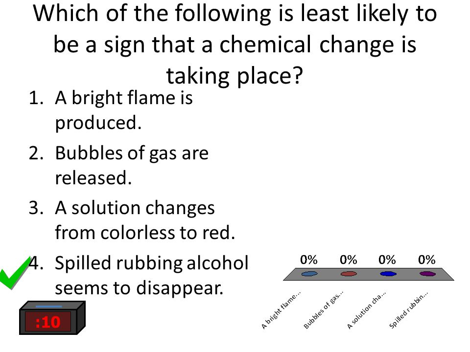 Which of the following is least likely to be a sign that a chemical change is taking place? 1.A bright flame is produced. 2.Bubbles of gas are release