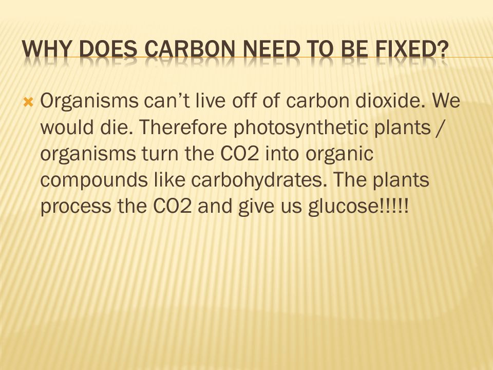  Organisms can't live off of carbon dioxide. We would die. Therefore photosynthetic plants / organisms turn the CO2 into organic compounds like carbo