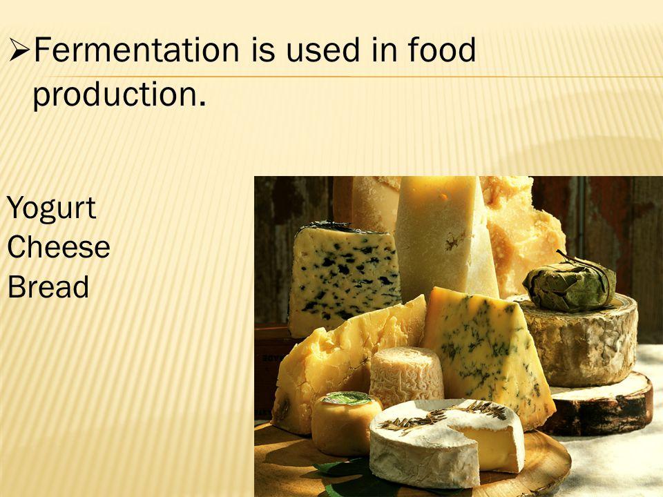  Fermentation is used in food production. Yogurt Cheese Bread