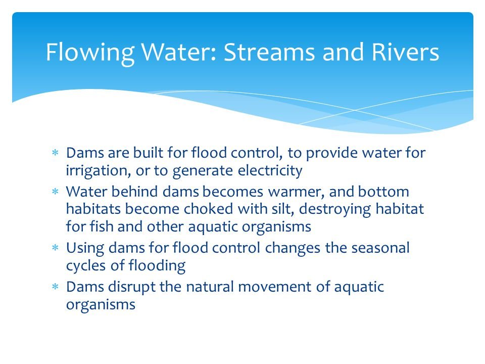  Dams are built for flood control, to provide water for irrigation, or to generate electricity  Water behind dams becomes warmer, and bottom habitat