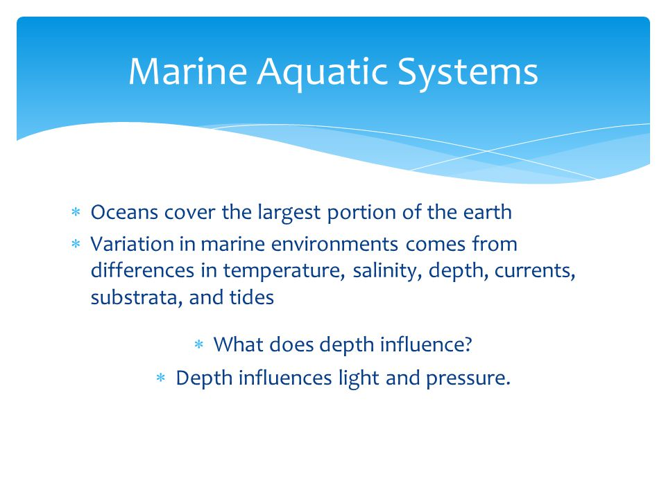  Oceans cover the largest portion of the earth  Variation in marine environments comes from differences in temperature, salinity, depth, currents, s