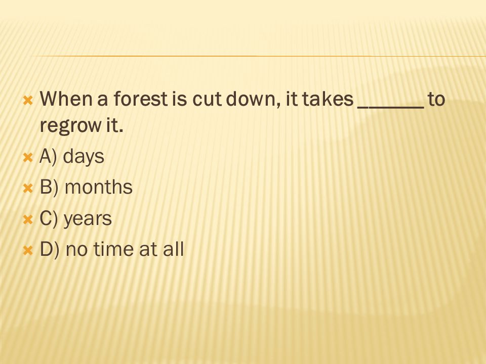  When a forest is cut down, it takes ______ to regrow it.