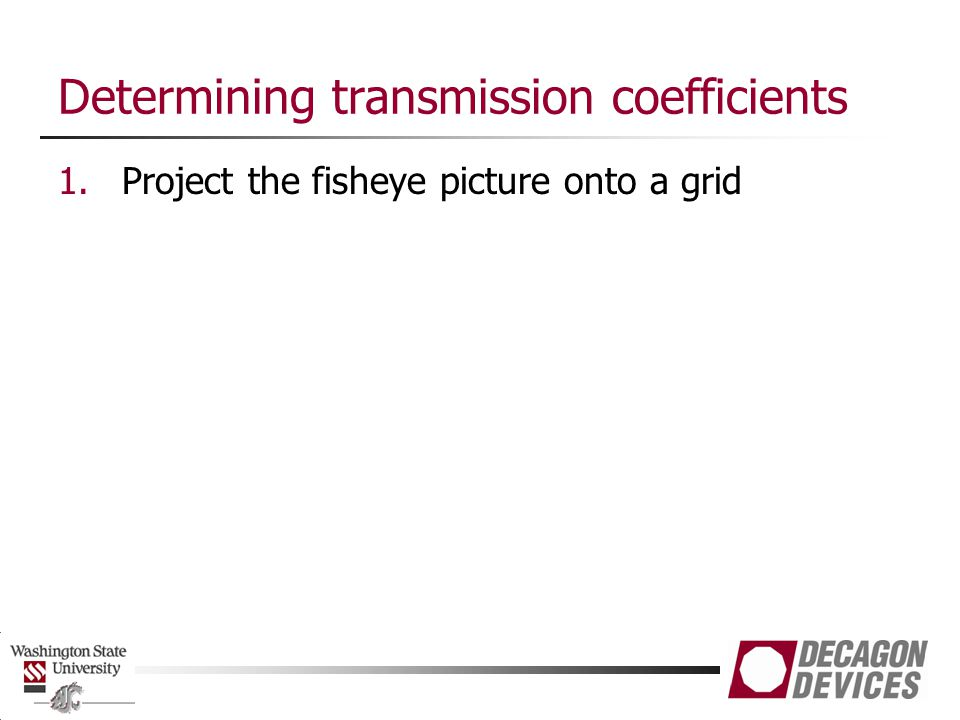 Determining transmission coefficients 1.Project the fisheye picture onto a grid