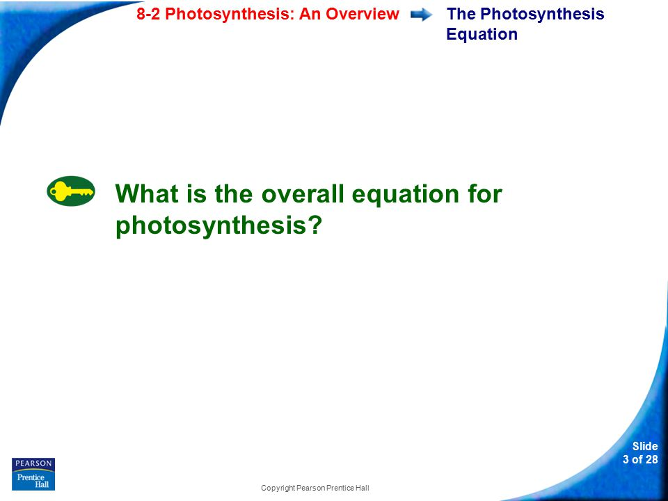 Slide 3 of 28 8-2 Photosynthesis: An Overview Copyright Pearson Prentice Hall The Photosynthesis Equation What is the overall equation for photosynthesis