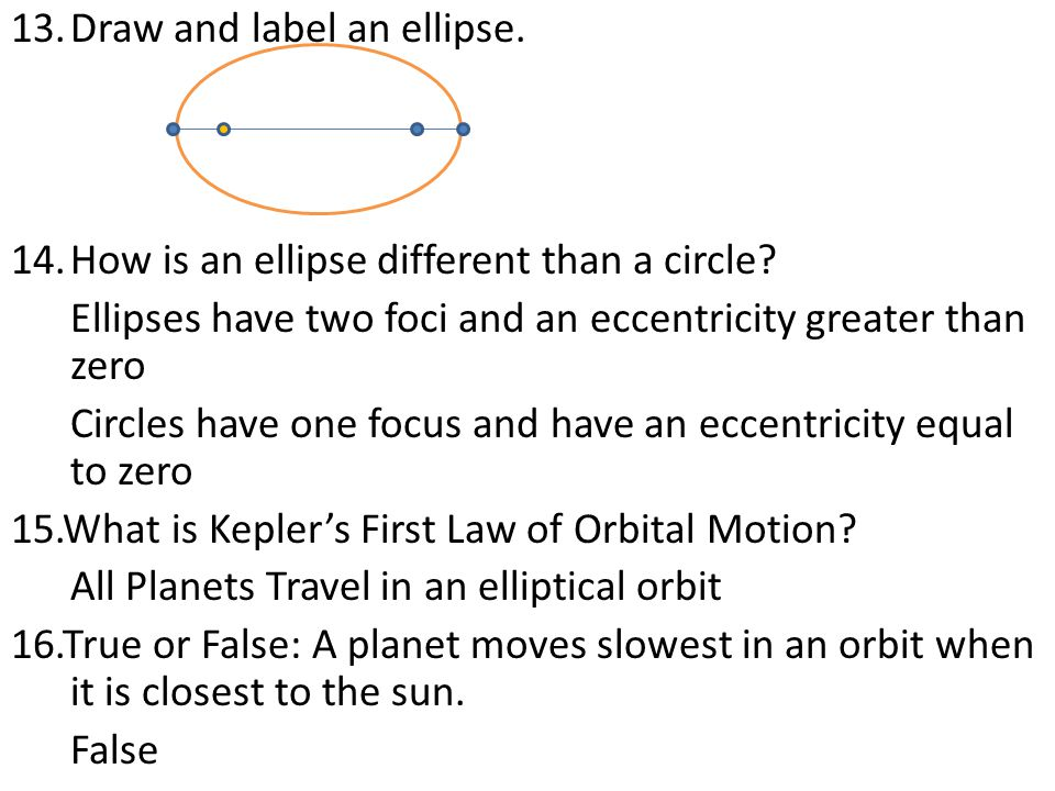 13.Draw and label an ellipse. 14.How is an ellipse different than a circle.