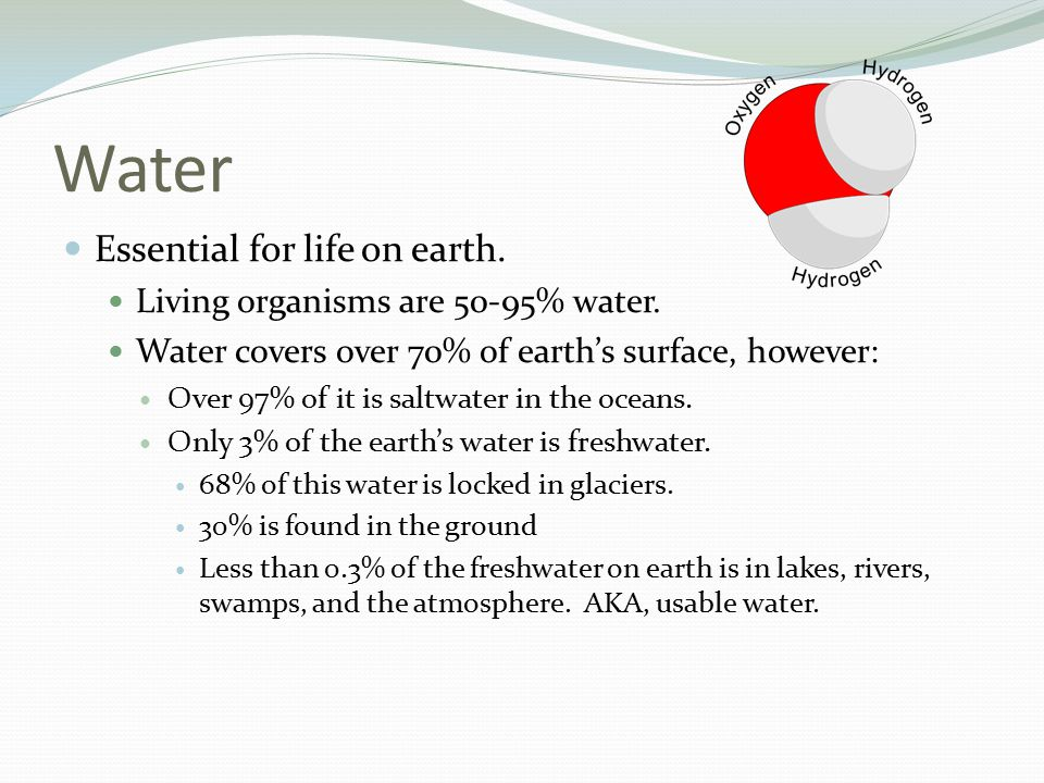 Water Essential for life on earth.Living organisms are 50-95% water.