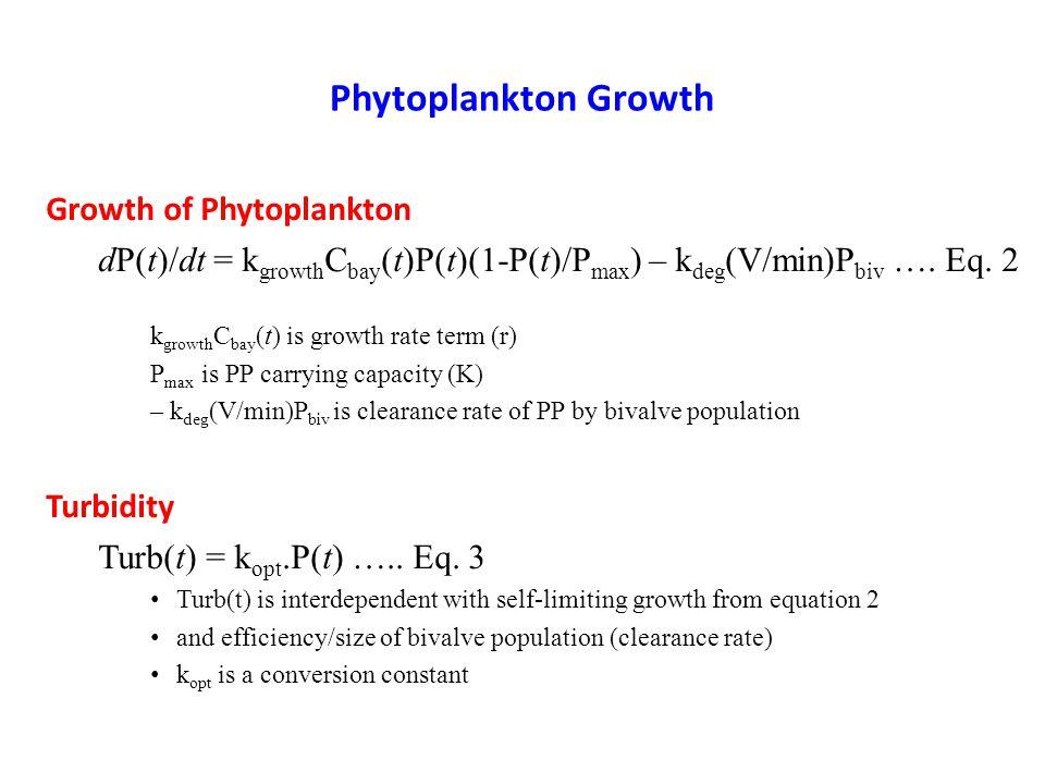 Phytoplankton Growth Growth of Phytoplankton dP(t)/dt = k growth C bay (t)P(t)(1-P(t)/P max ) – k deg (V/min)P biv ….