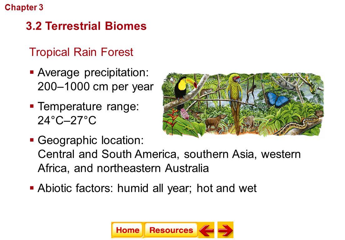 Communities, Biomes, and Ecosystems Tropical Rain Forest  Average precipitation: 200–1000 cm per year  Temperature range: 24°C–27°C  Abiotic factor