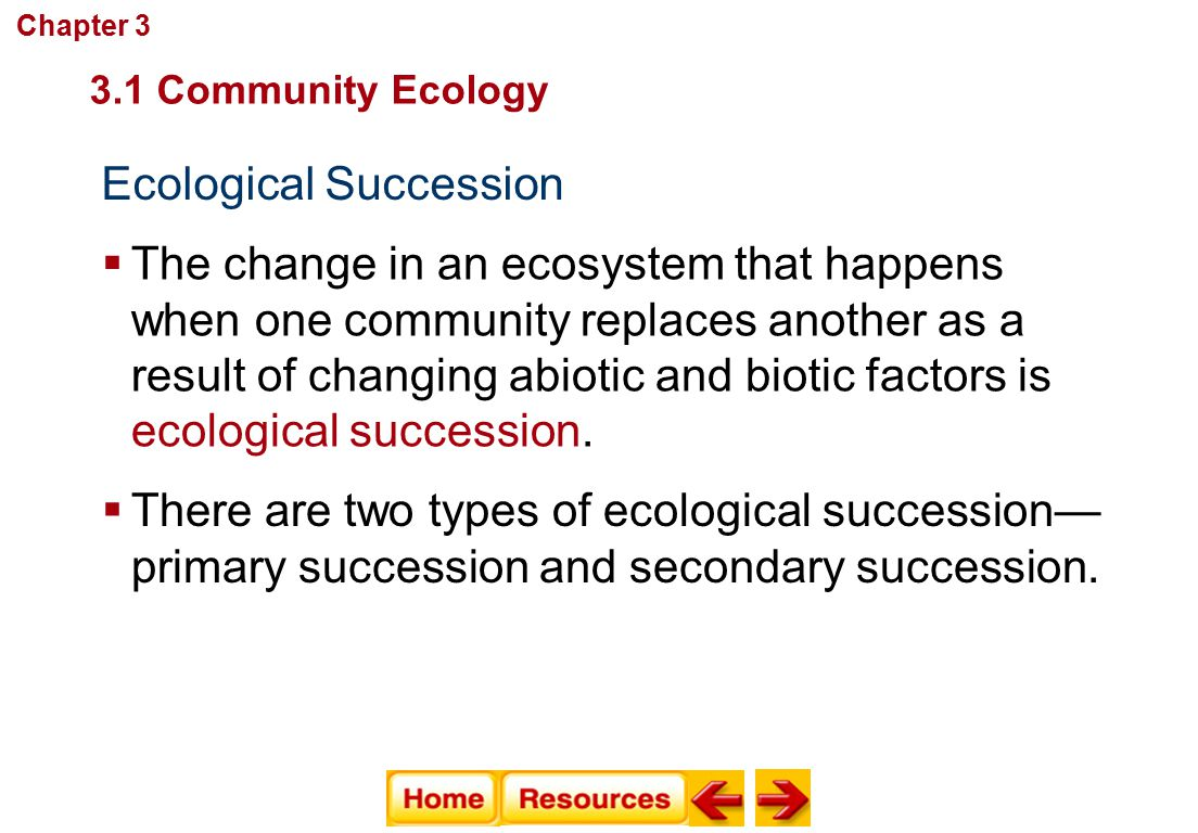 Ecological Succession Communities, Biomes, and Ecosystems  The change in an ecosystem that happens when one community replaces another as a result of