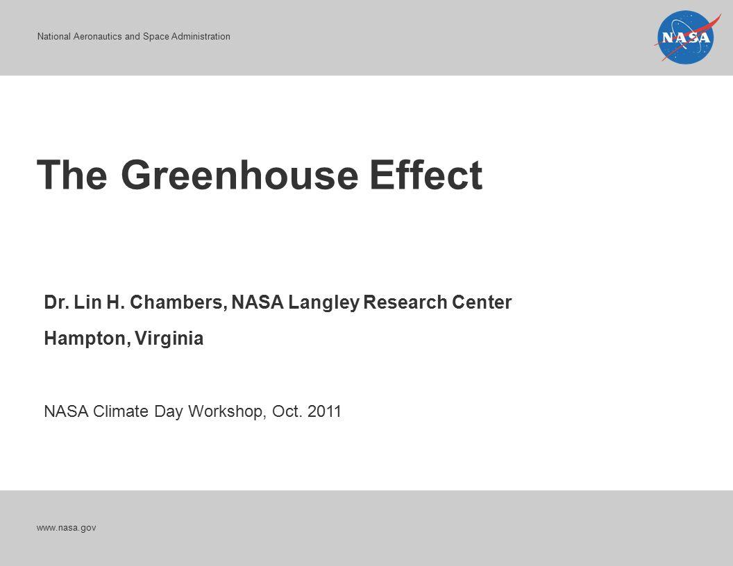 National Aeronautics and Space Administration The Greenhouse Effect www.nasa.gov Dr. Lin H. Chambers, NASA Langley Research Center Hampton, Virginia N