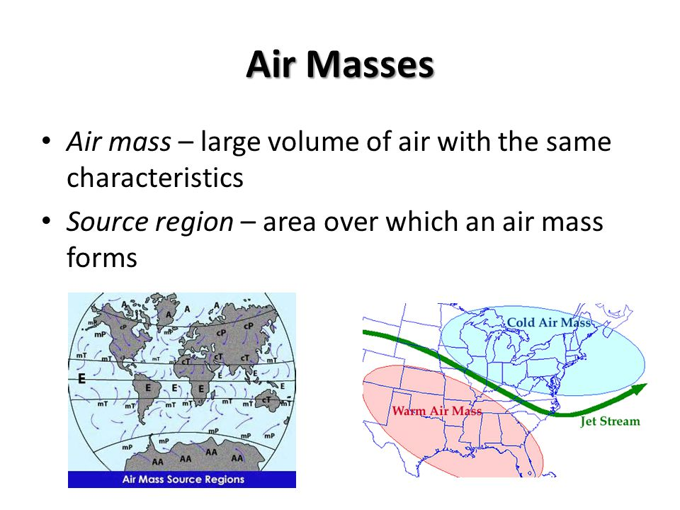 Air Masses Air mass – large volume of air with the same characteristics Source region – area over which an air mass forms