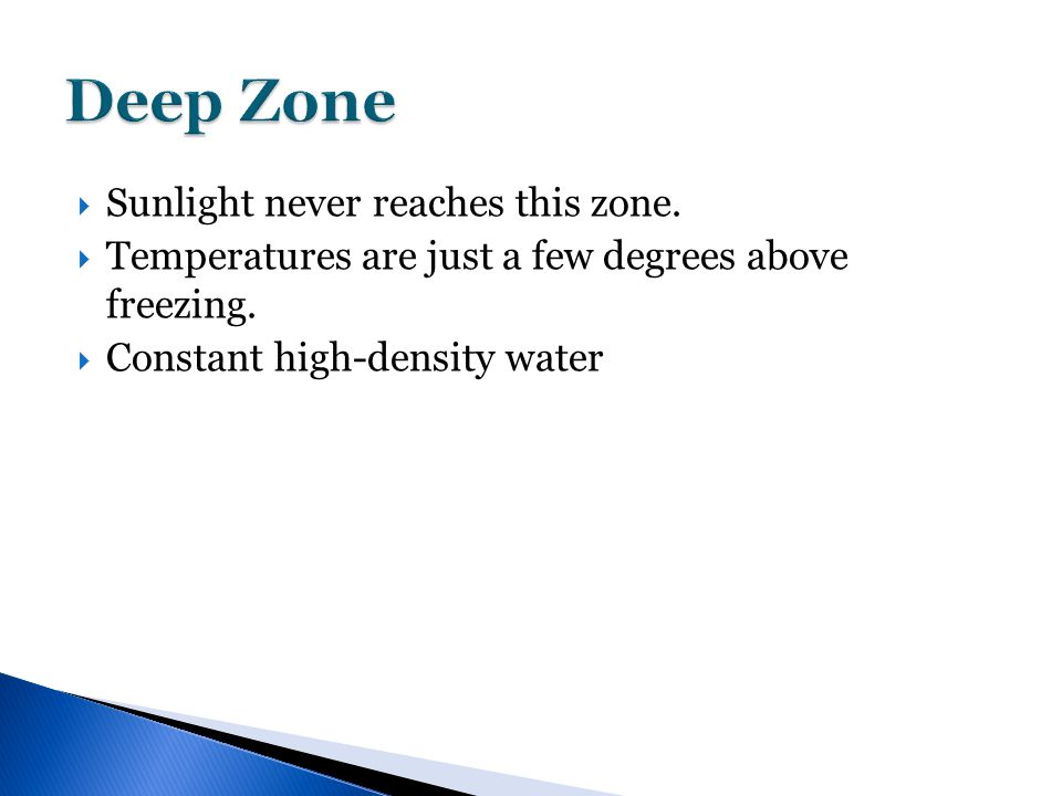  Sunlight never reaches this zone.  Temperatures are just a few degrees above freezing.  Constant high-density water