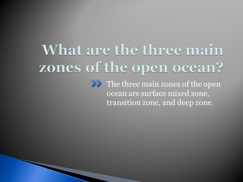The three main zones of the open ocean are surface mixed zone, transition zone, and deep zone.
