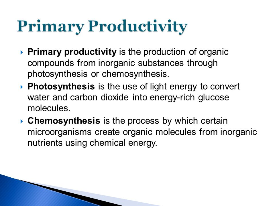  Primary productivity is the production of organic compounds from inorganic substances through photosynthesis or chemosynthesis.  Photosynthesis is
