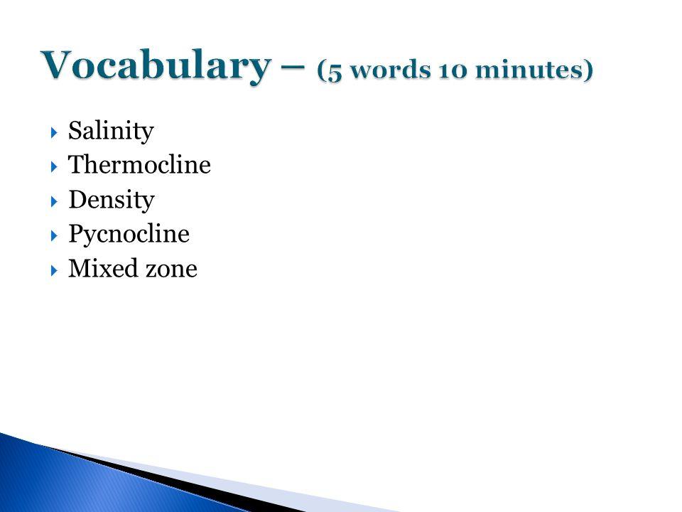  Salinity  Thermocline  Density  Pycnocline  Mixed zone