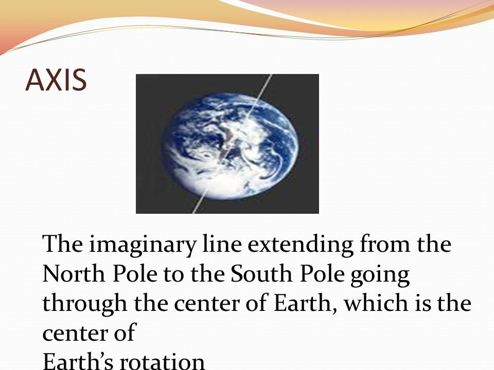 AXIS The imaginary line extending from the North Pole to the South Pole going through the center of Earth, which is the center of Earth's rotation