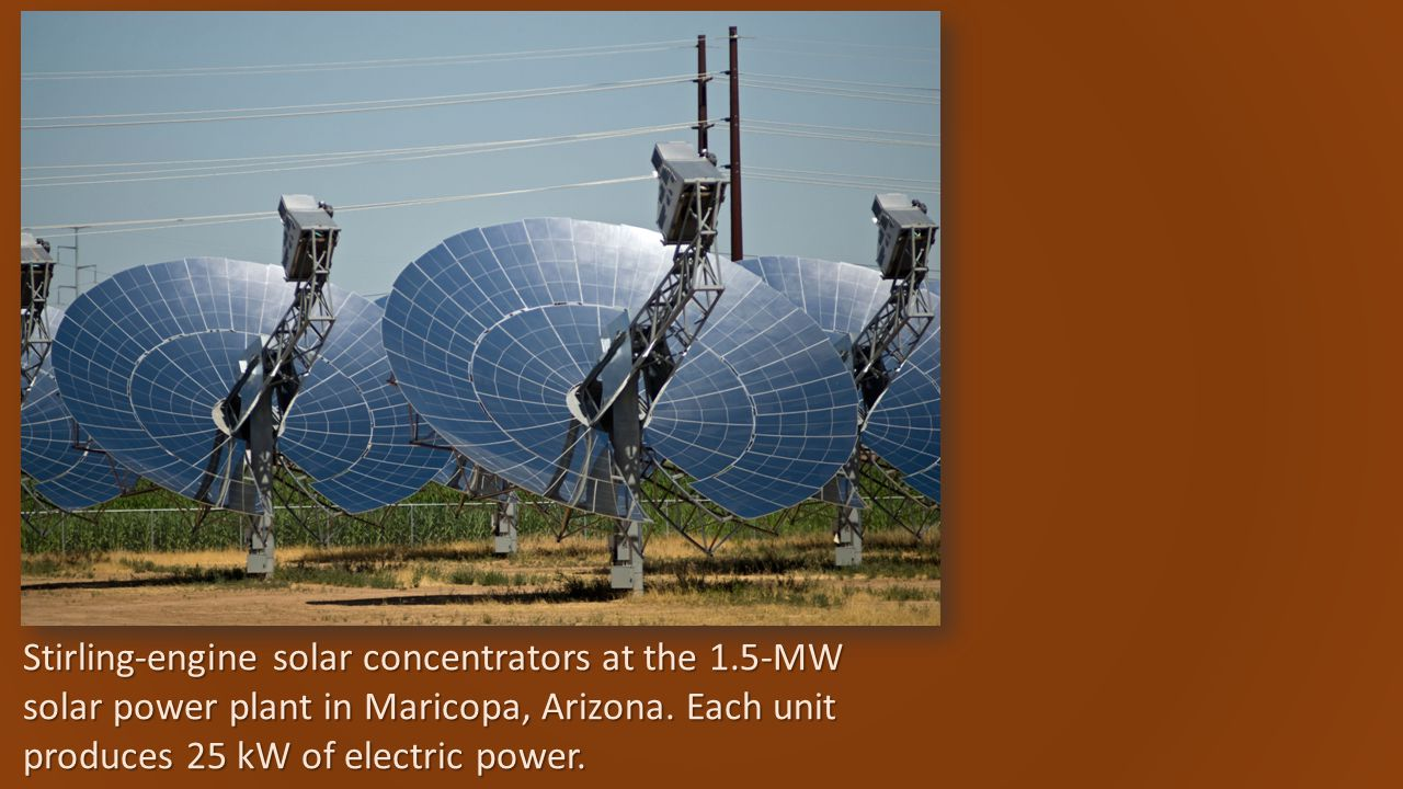 Stirling-engine solar concentrators at the 1.5-MW solar power plant in Maricopa, Arizona.