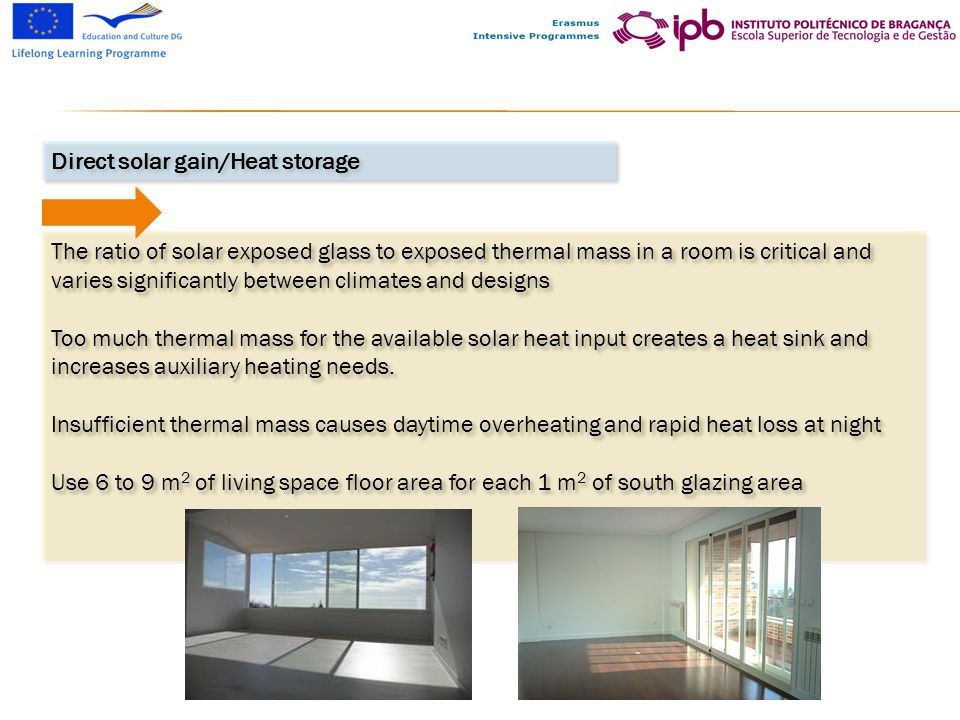 The ratio of solar exposed glass to exposed thermal mass in a room is critical and varies significantly between climates and designs Too much thermal