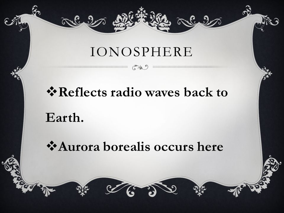 IONOSPHERE  Reflects radio waves back to Earth.  Aurora borealis occurs here