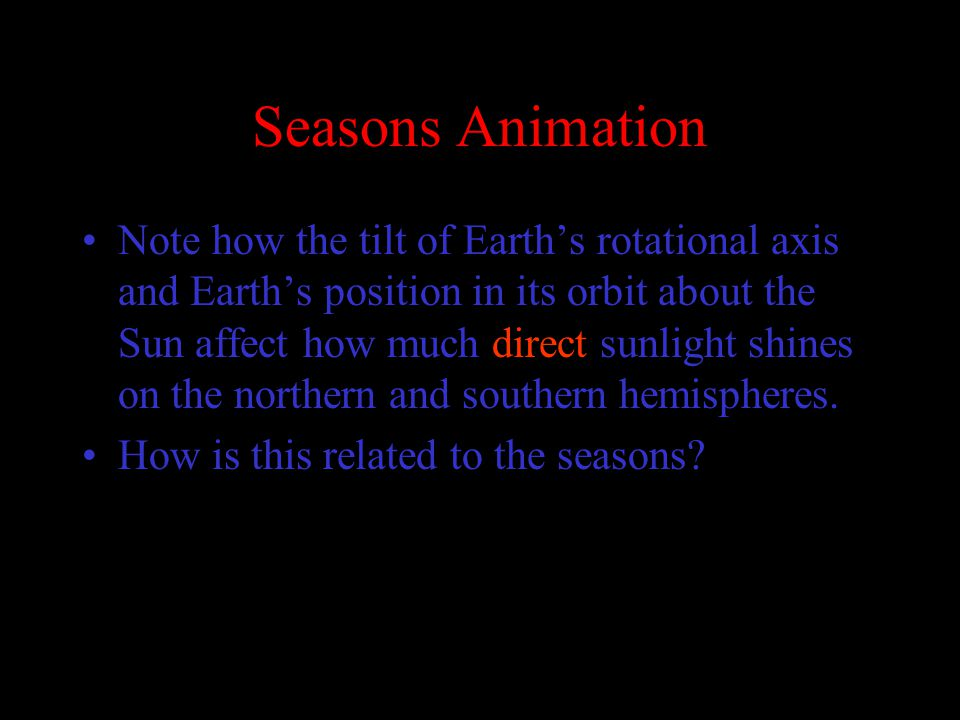 Seasons Animation Note how the tilt of Earth's rotational axis and Earth's position in its orbit about the Sun affect how much direct sunlight shines