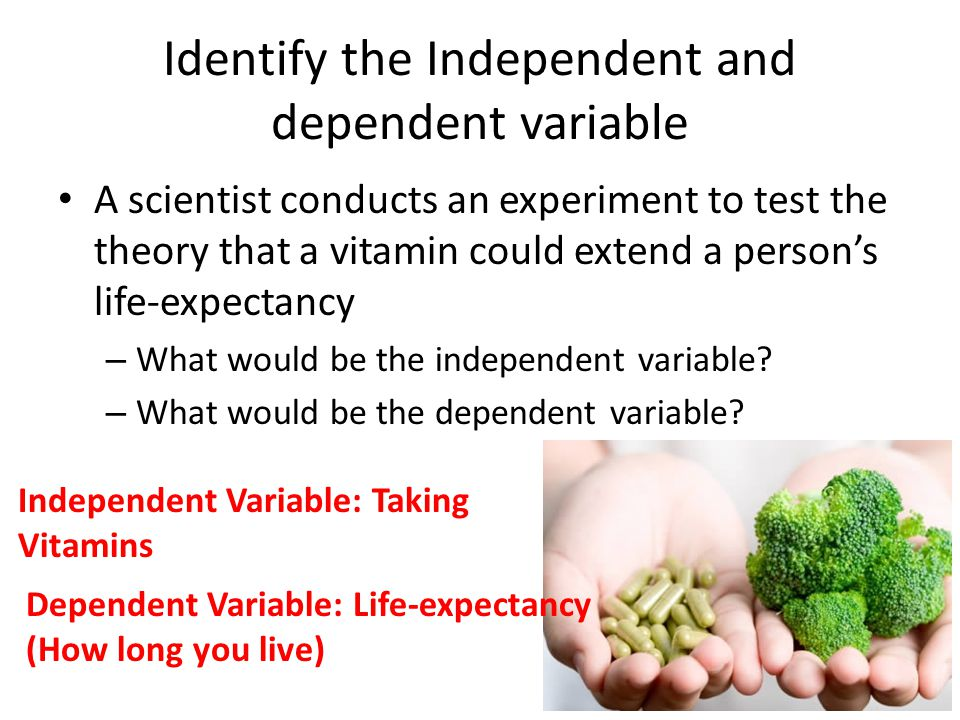 Identify the Independent and dependent variable A scientist conducts an experiment to test the theory that a vitamin could extend a person's life-expectancy – What would be the independent variable.