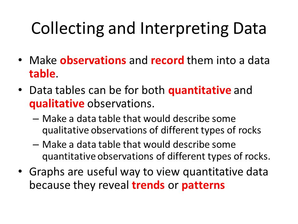 Collecting and Interpreting Data Make observations and record them into a data table.