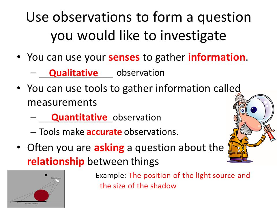 Use observations to form a question you would like to investigate You can use your senses to gather information.