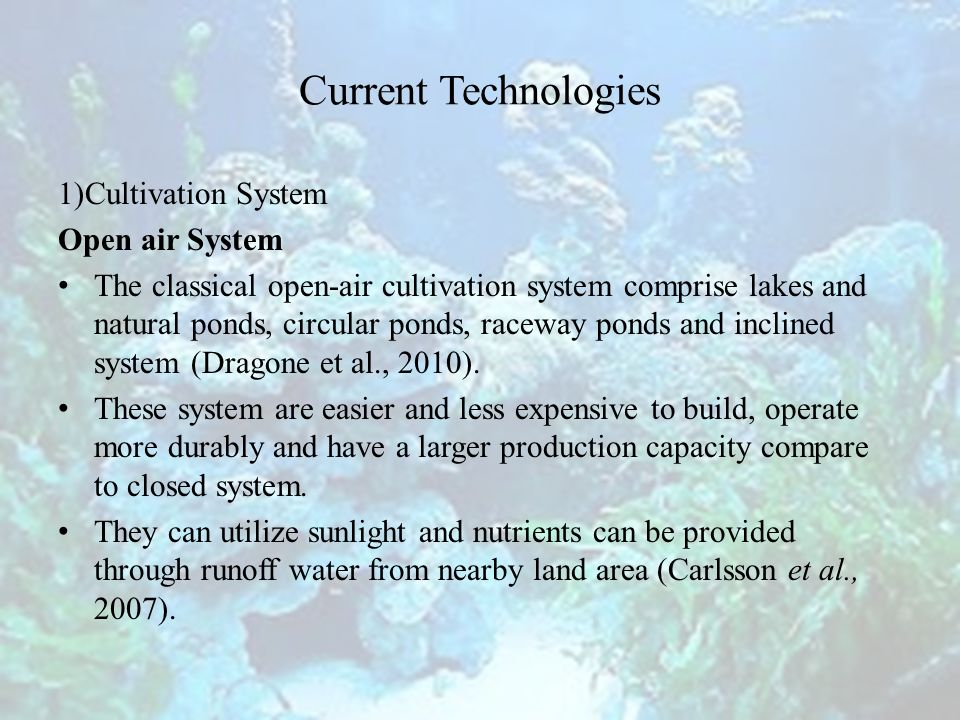 Current Technologies 1)Cultivation System Open air System The classical open-air cultivation system comprise lakes and natural ponds, circular ponds, raceway ponds and inclined system (Dragone et al., 2010).