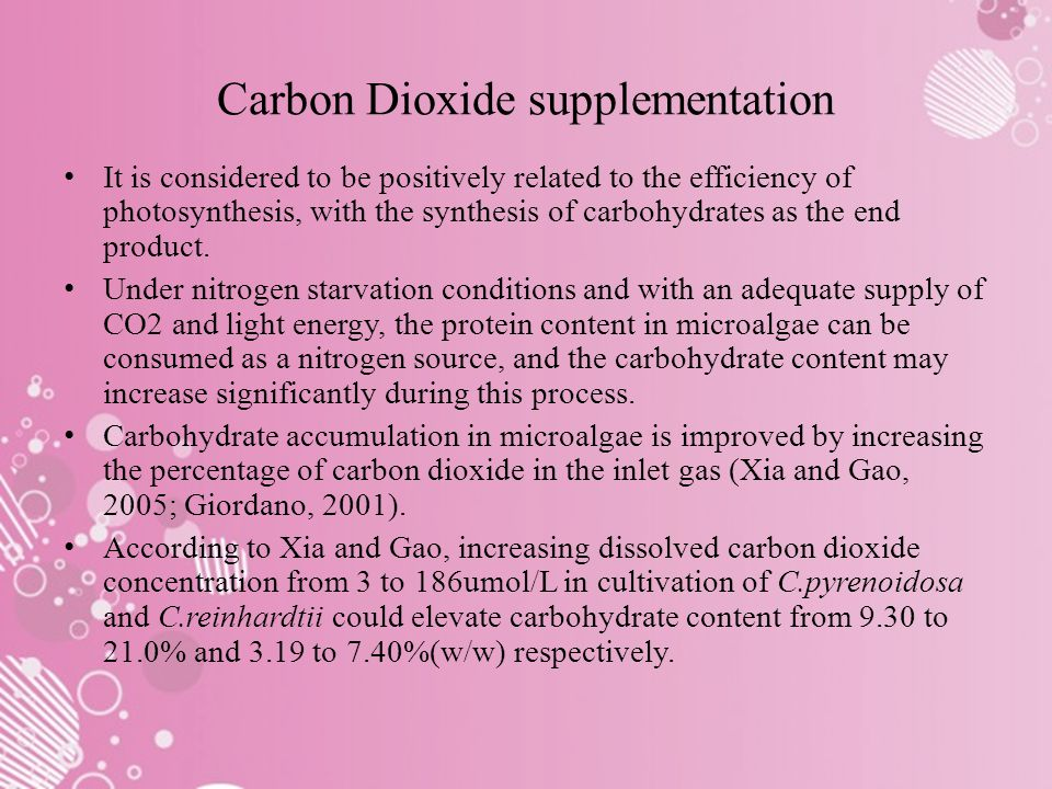 Carbon Dioxide supplementation It is considered to be positively related to the efficiency of photosynthesis, with the synthesis of carbohydrates as the end product.