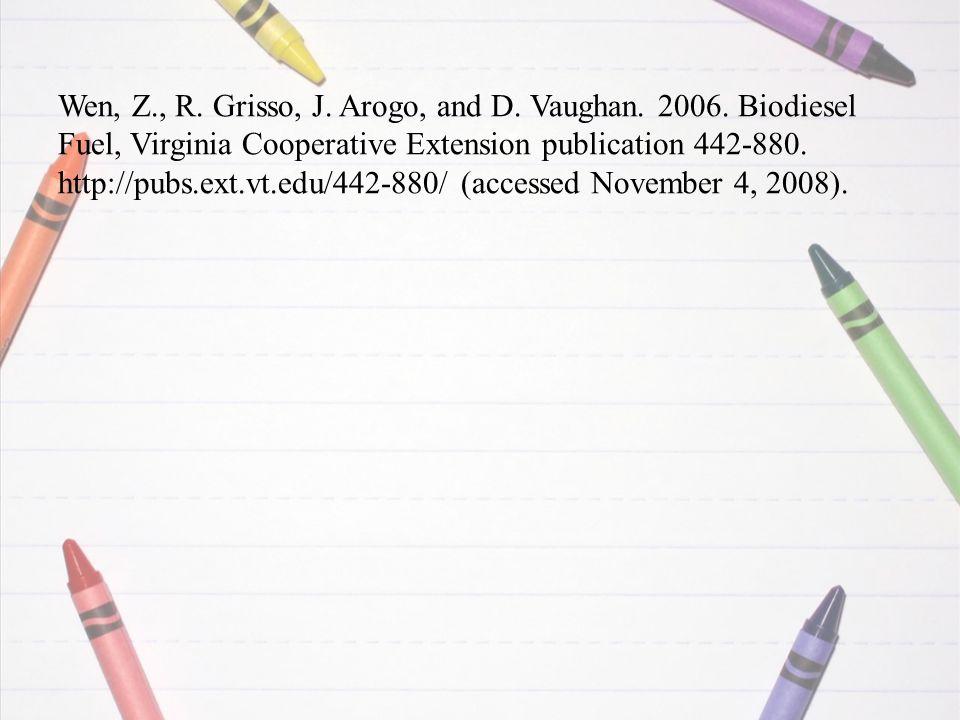 Wen, Z., R. Grisso, J. Arogo, and D. Vaughan. 2006.