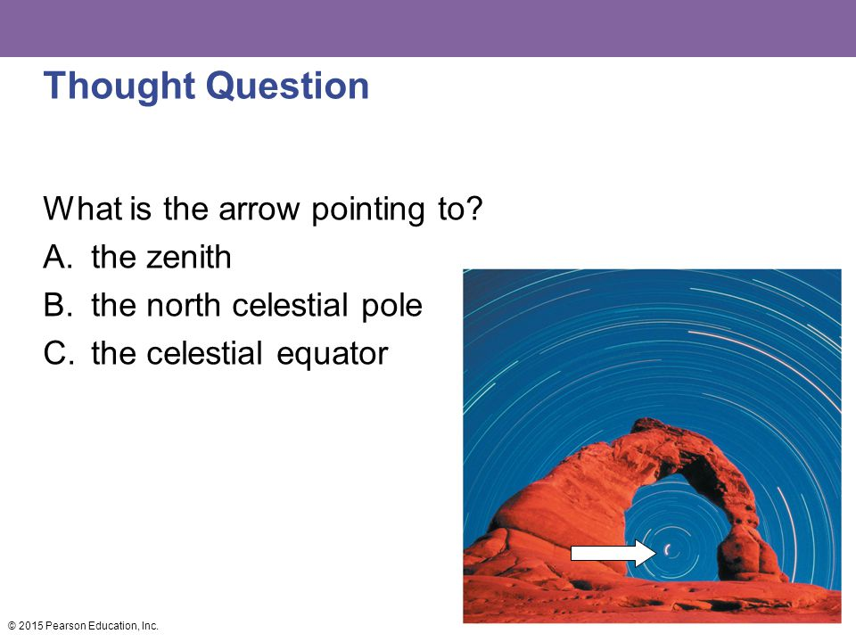 Thought Question What is the arrow pointing to? A.the zenith B.the north celestial pole C.the celestial equator © 2015 Pearson Education, Inc.