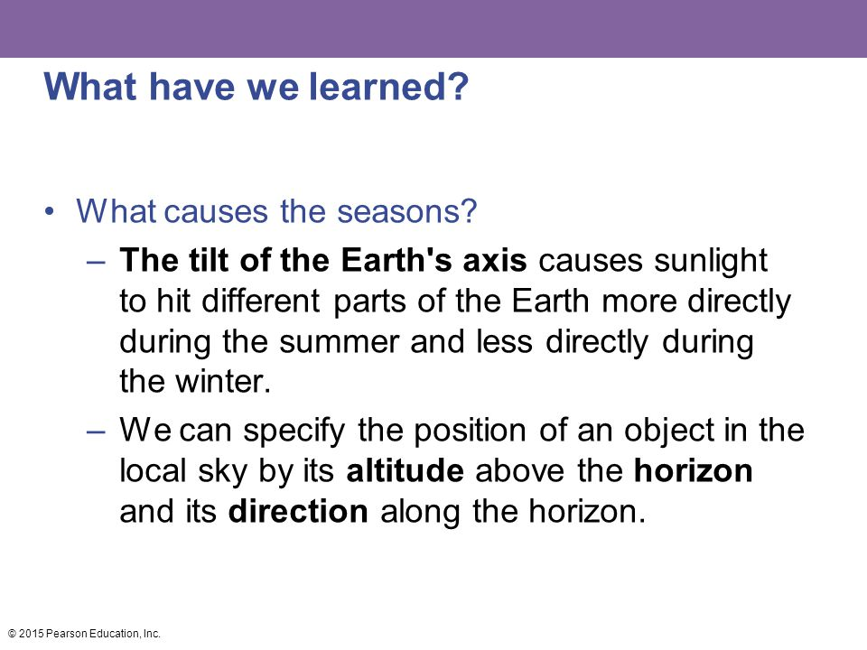 What have we learned? What causes the seasons? –The tilt of the Earth's axis causes sunlight to hit different parts of the Earth more directly during