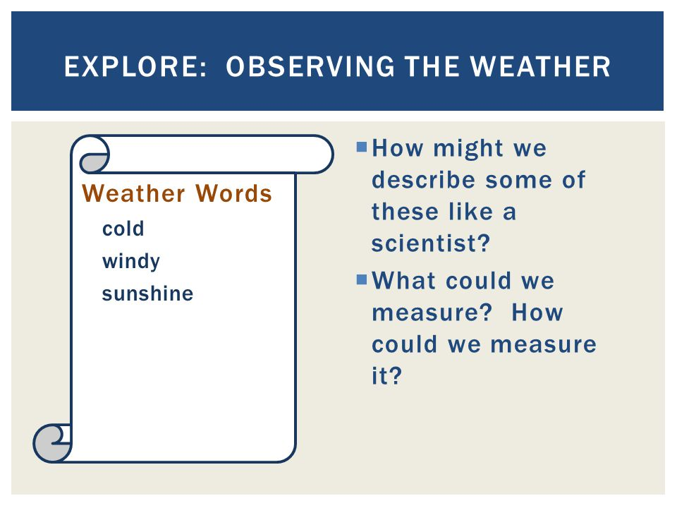  How might we describe some of these like a scientist?  What could we measure? How could we measure it? EXPLORE: OBSERVING THE WEATHER Weather Words