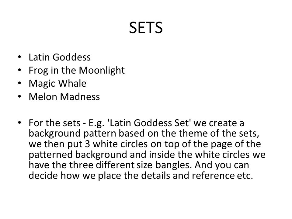 SETS Latin Goddess Frog in the Moonlight Magic Whale Melon Madness For the sets - E.g.