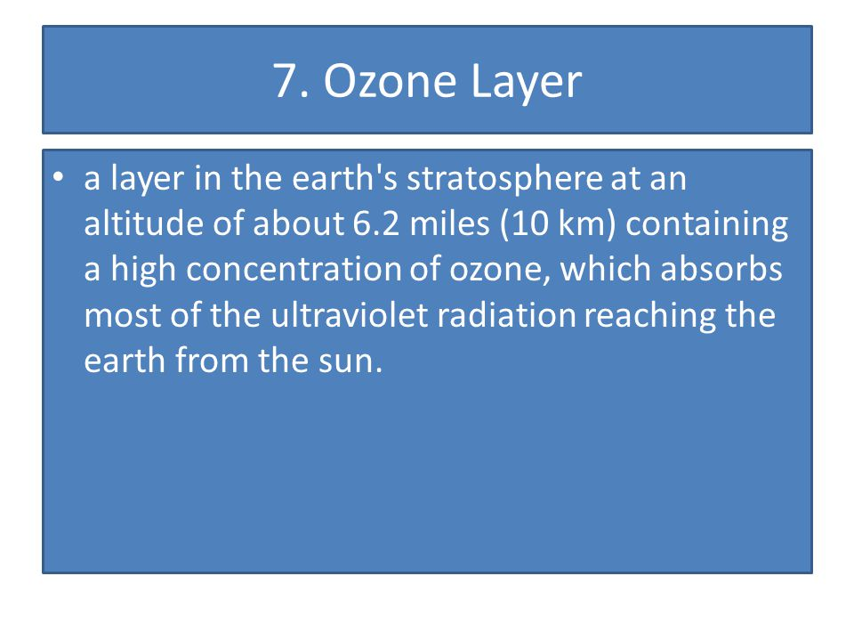 7. Ozone Layer a layer in the earth's stratosphere at an altitude of about 6.2 miles (10 km) containing a high concentration of ozone, which absorbs m
