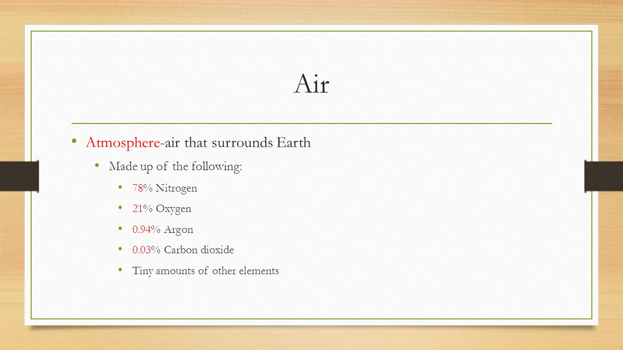 Air Atmosphere-air that surrounds Earth Made up of the following: 78% Nitrogen 21% Oxygen 0.94% Argon 0.03% Carbon dioxide Tiny amounts of other eleme