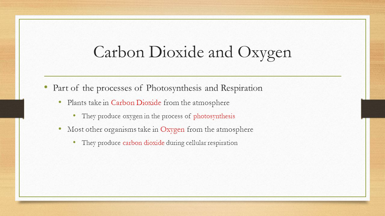 Carbon Dioxide and Oxygen Part of the processes of Photosynthesis and Respiration Plants take in Carbon Dioxide from the atmosphere They produce oxyge