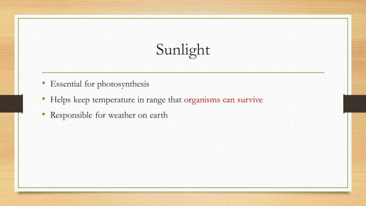 Sunlight Essential for photosynthesis Helps keep temperature in range that organisms can survive Responsible for weather on earth