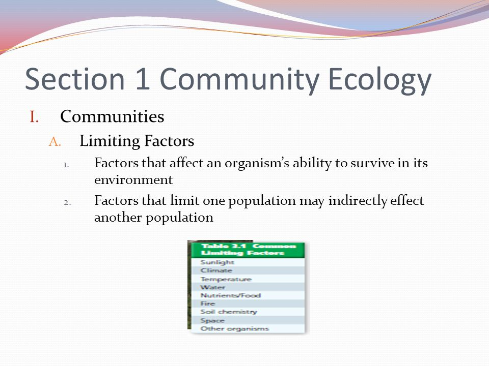 Section 1 Community Ecology I.Communities A. Limiting Factors 1.