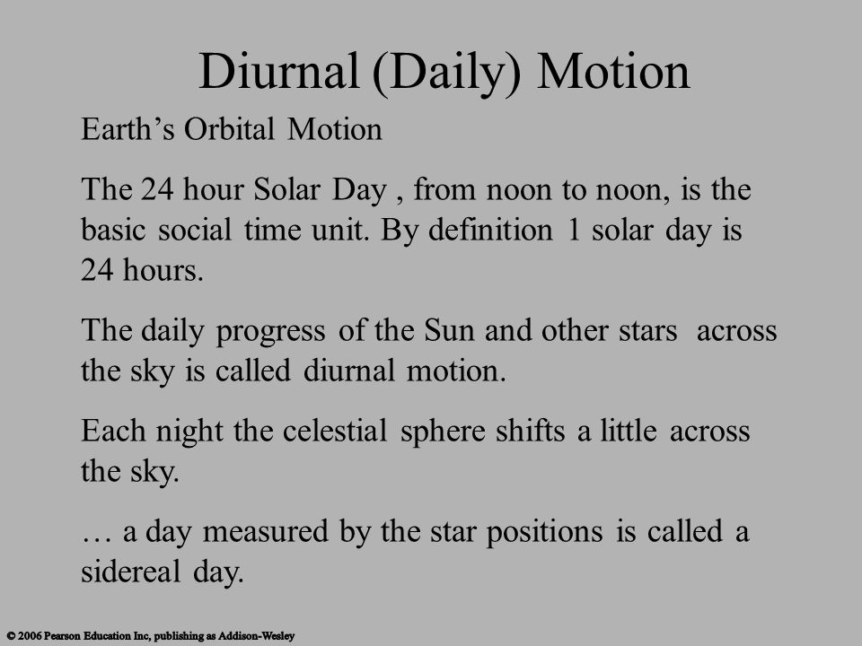 Earth's Orbital Motion The 24 hour Solar Day, from noon to noon, is the basic social time unit. By definition 1 solar day is 24 hours. The daily progr