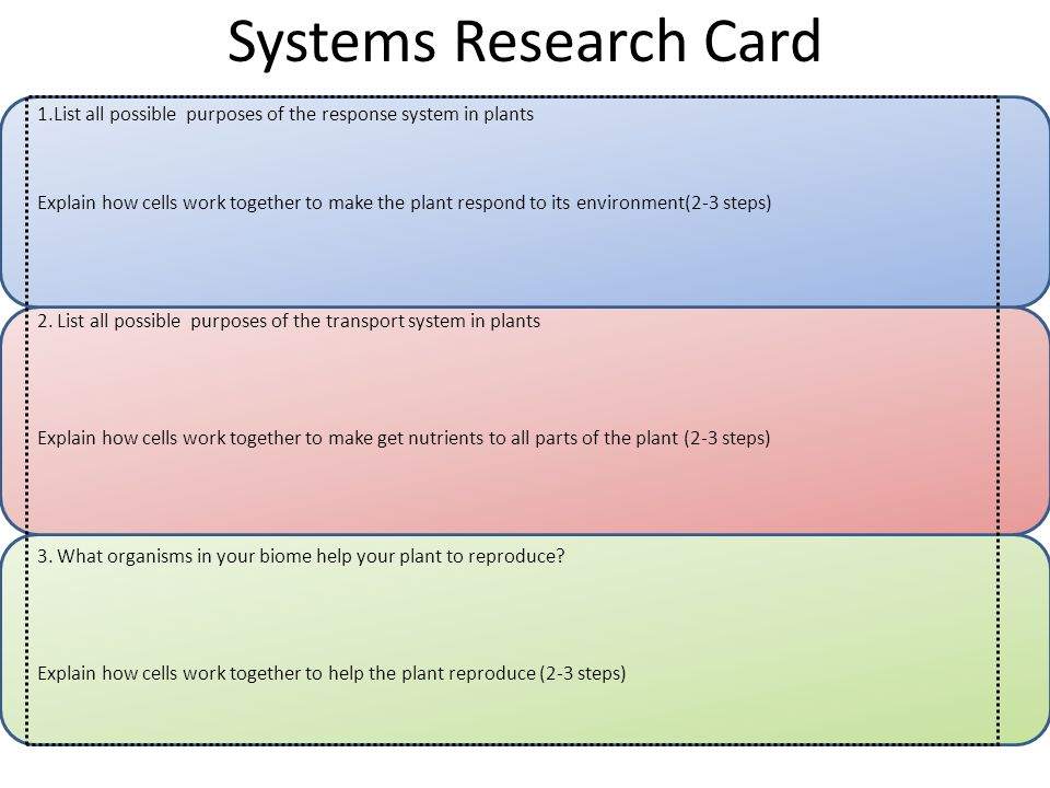 Systems Research Card 1.List all possible purposes of the response system in plants Explain how cells work together to make the plant respond to its environment(2-3 steps) 2.