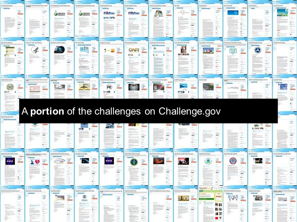 A portion of the challenges on Challenge.gov