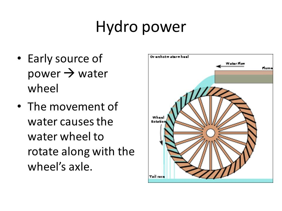Hydro power Early source of power  water wheel The movement of water causes the water wheel to rotate along with the wheel's axle.