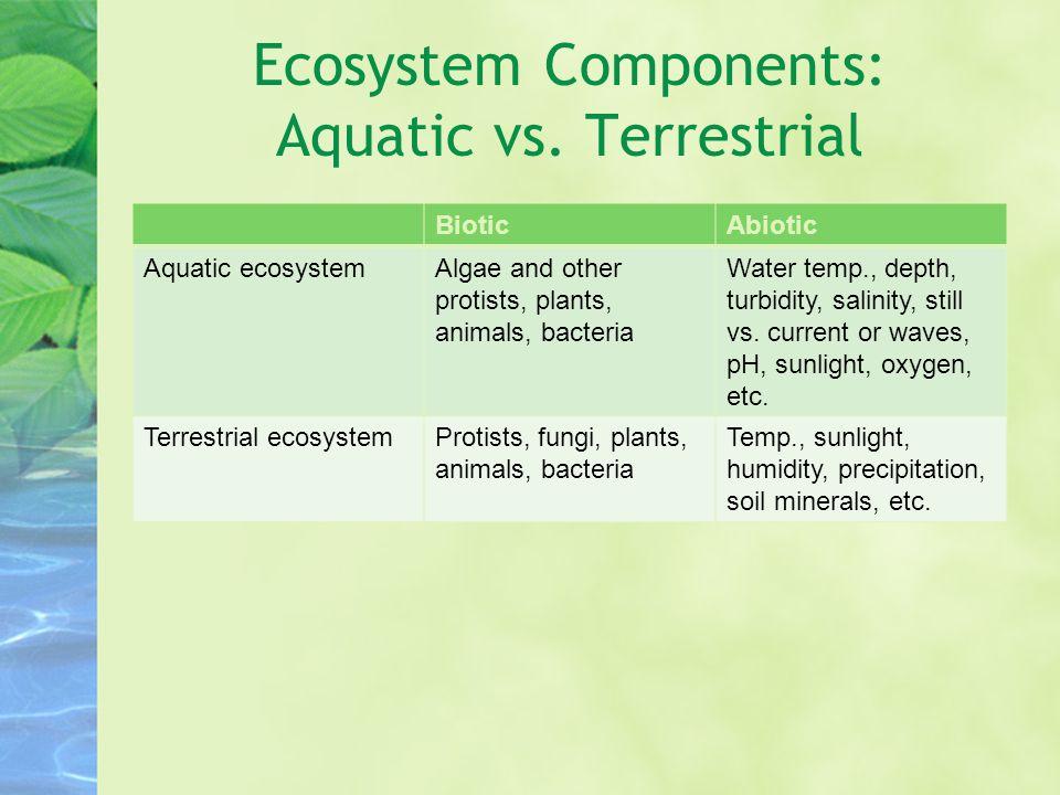 Ecosystem Components: Aquatic vs.