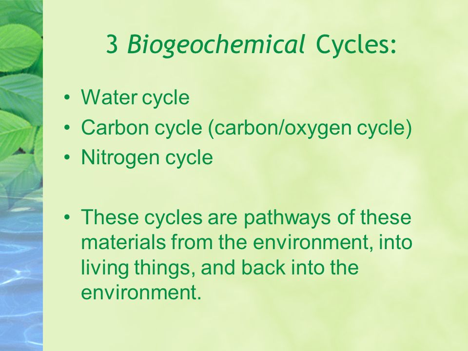 3 Biogeochemical Cycles: Water cycle Carbon cycle (carbon/oxygen cycle) Nitrogen cycle These cycles are pathways of these materials from the environment, into living things, and back into the environment.