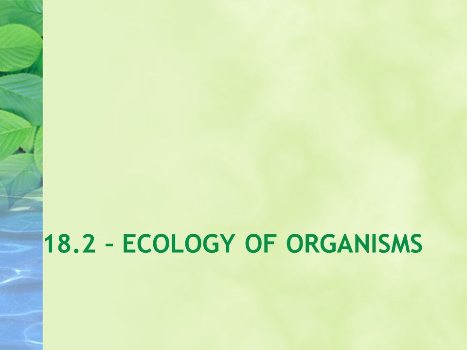 18.2 – ECOLOGY OF ORGANISMS