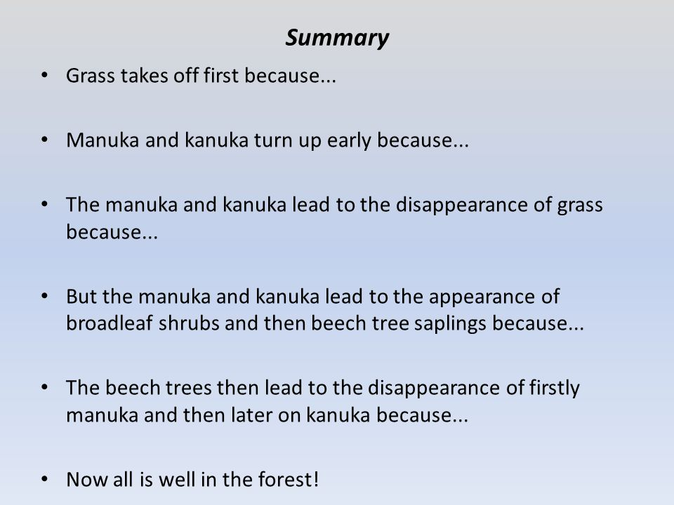 Summary Grass takes off first because... Manuka and kanuka turn up early because... The manuka and kanuka lead to the disappearance of grass because..