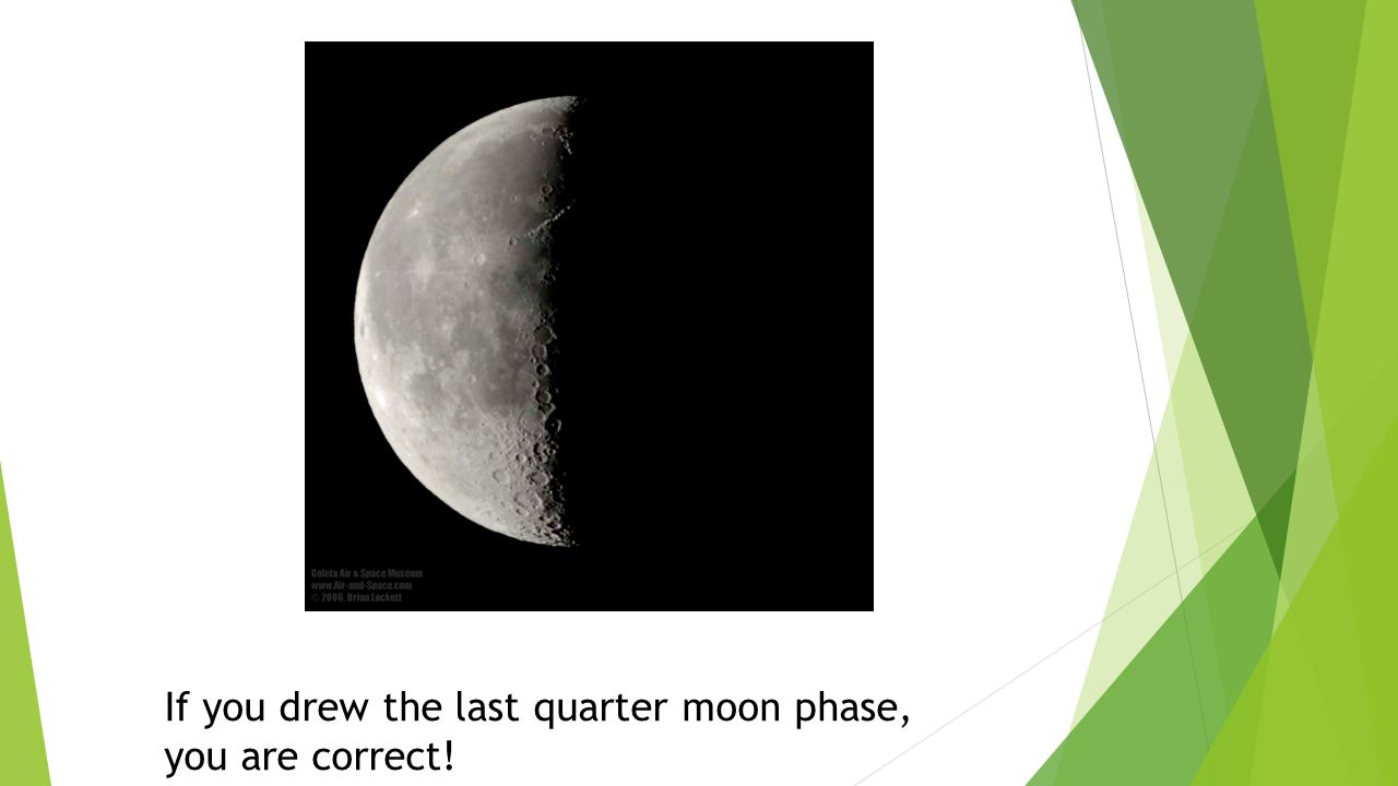 If you drew the last quarter moon phase, you are correct!